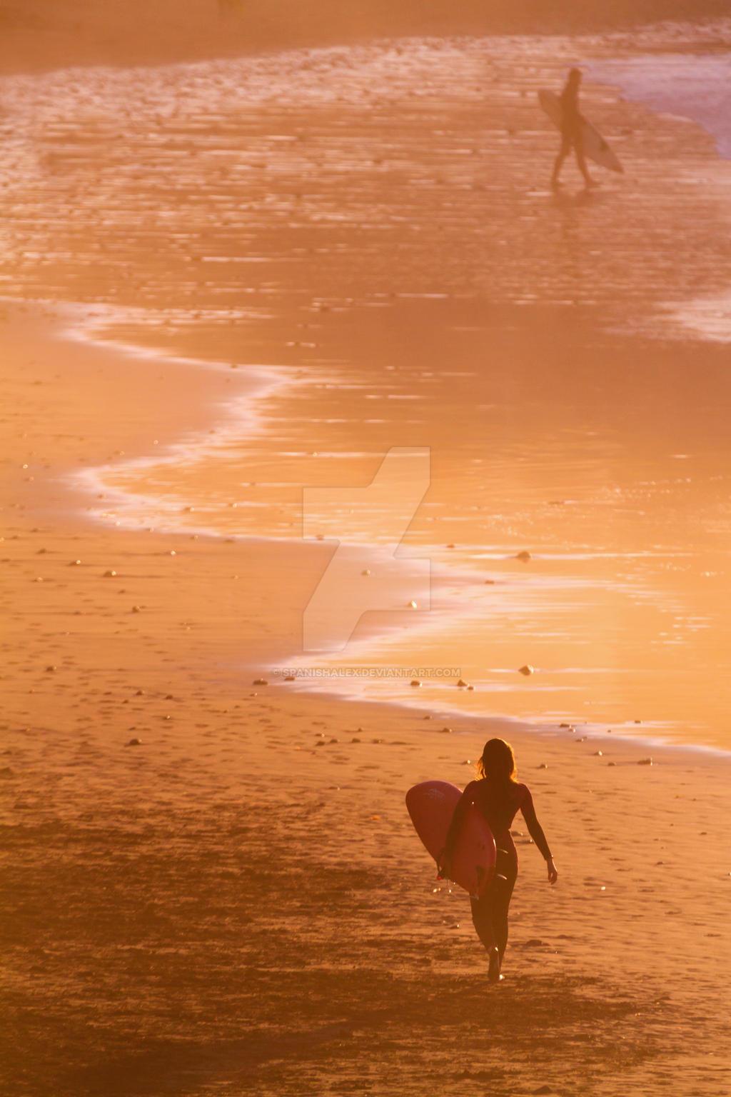 Sunset Surfer Girl Silhouette by Spanishalex