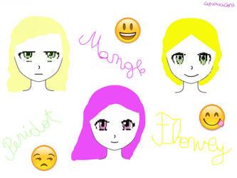 Peridot,Mangle and Flowey - Emoji Style by CorinaCori