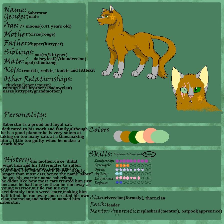 Apprentices Warrior Cats Untold Tales: Saberstar Warrior Cats Untold Tales Oc Ref Sheet By