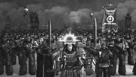 We March for Macragge! (black and white version)