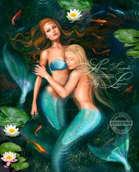 Beautiful fantasy princess mermaids in lake with