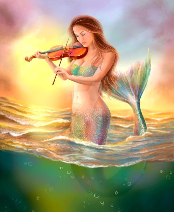 Beautiful woman fantasy mermaid plays on violin by AlenaLazareva