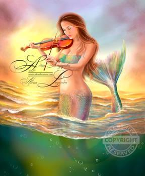 Beautiful woman fantasy mermaid plays on violin