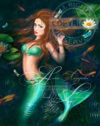 Beautiful Fantasy mermaid in lake. Stock image