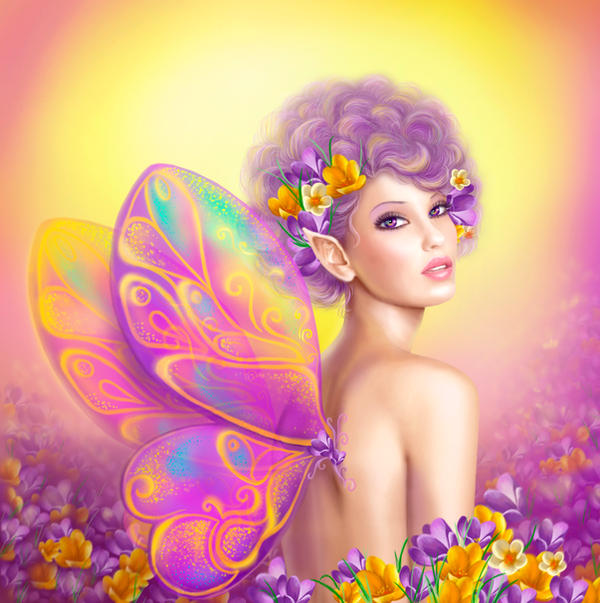 Beautiful girl fairy butterfly at pink and purple