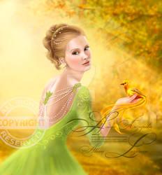 Illustration Beautiful romantic woman and fantasy