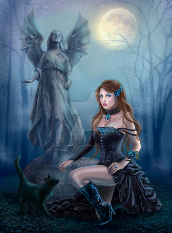 Fantasy beautiful woman with black cat about by AlenaLazareva