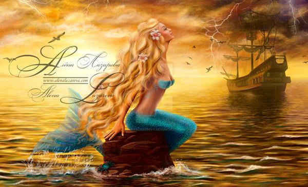 Beautiful princess Sea Mermaid with Ghost Ship at