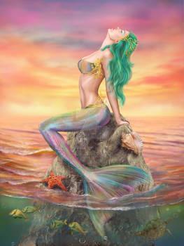 Beautiful fantasy Mermaid At Sunset