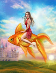Gold fish and woman. Fantastic illustration
