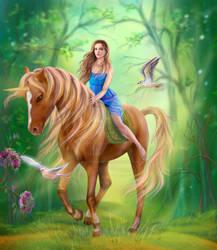 Fantasy woman and unicorn . Magic forest