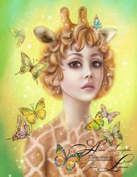 Giraffe . Fantasy lady of nature