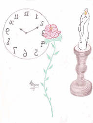 Clock, Rose and Candlestick