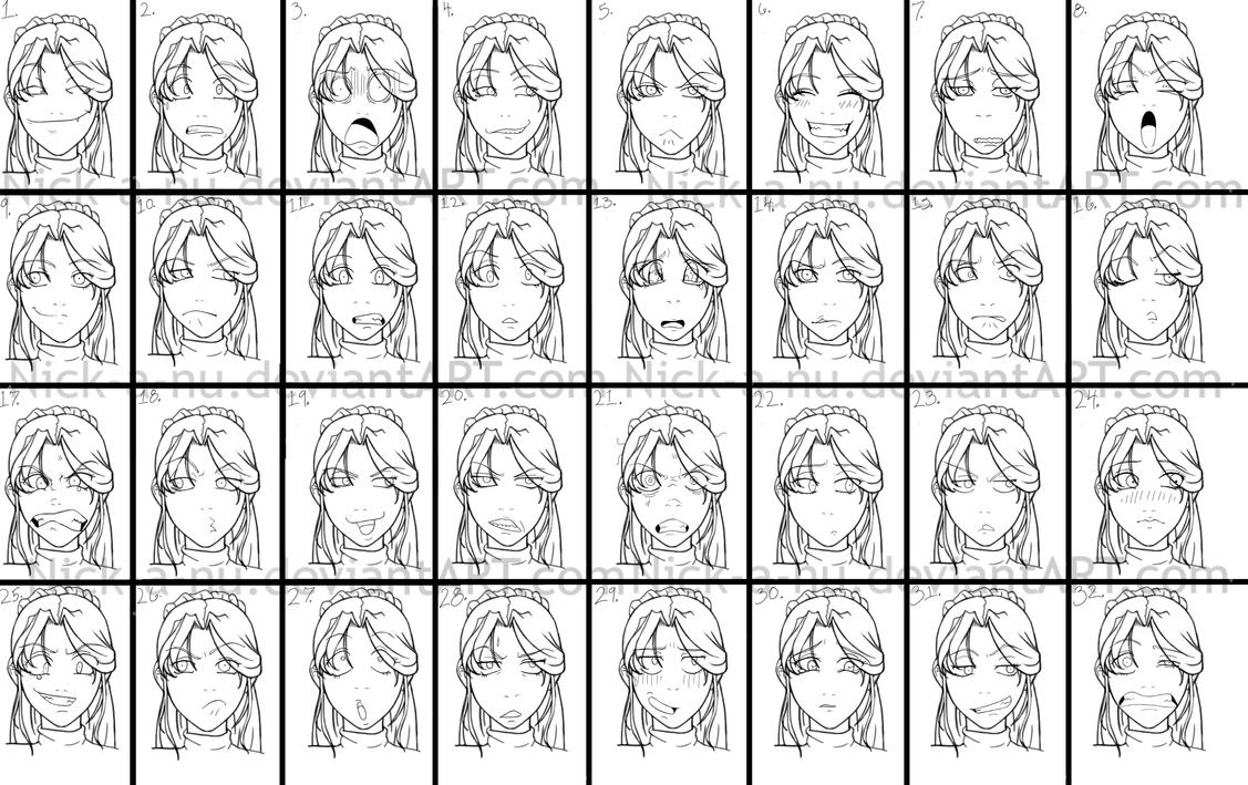 Drawings of facial expressions