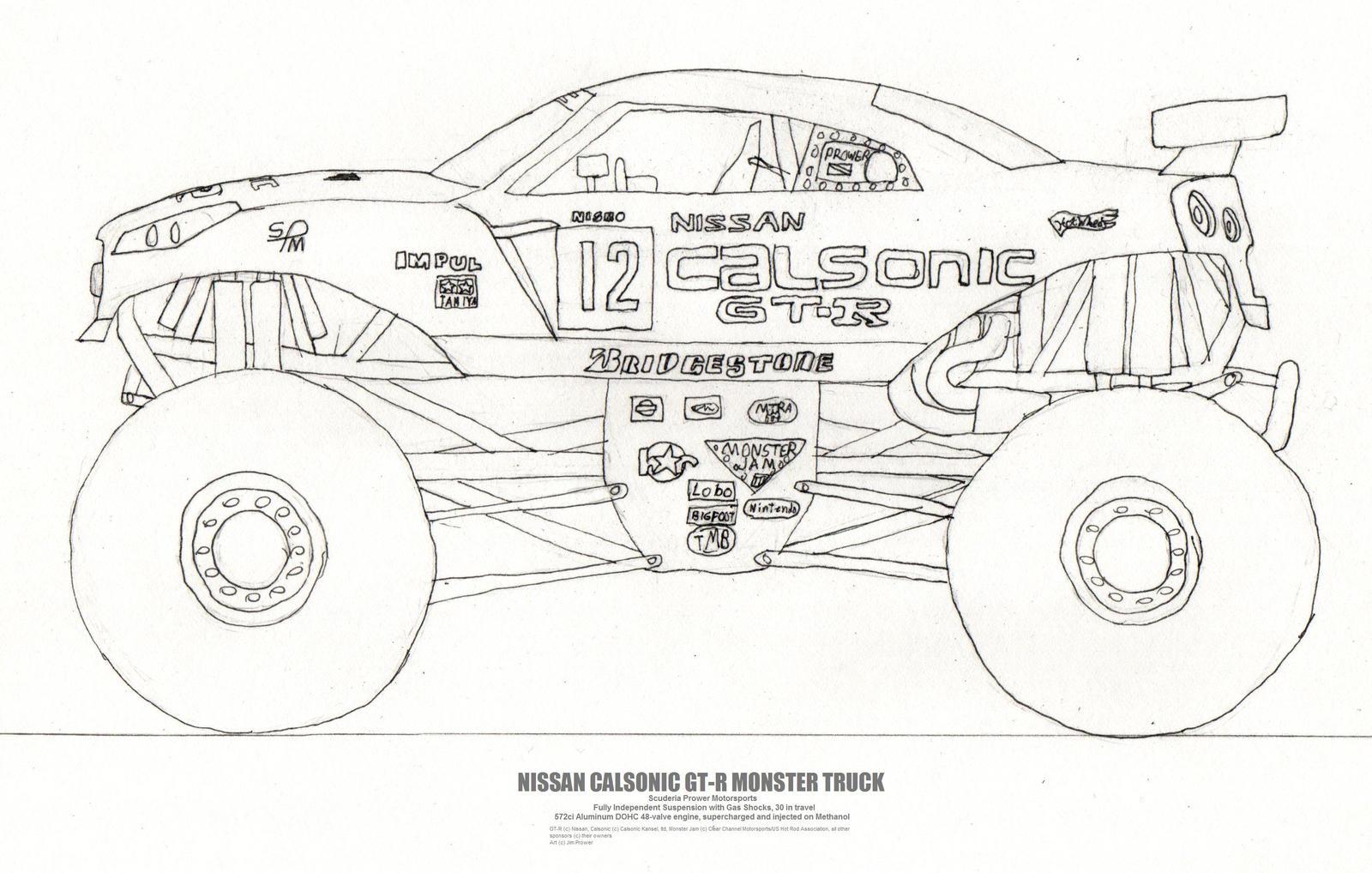 Uncategorized How To Draw Monster Trucks the nissan gt r monster truck by jim prower on deviantart prower