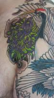 crane and chrysanthemum tattoo