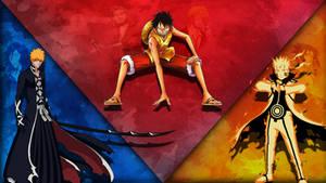 Luffy, Ichigo, and Naruto Wallpaper