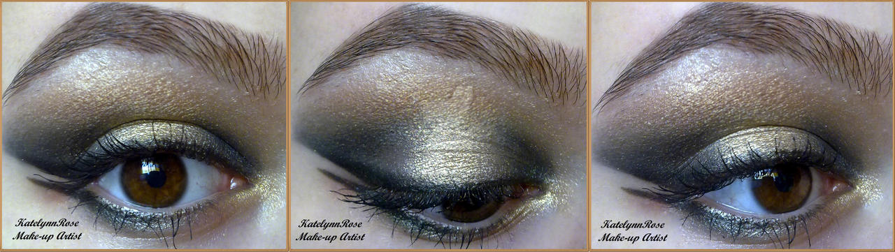 black and gold make-up look by KatelynnRose