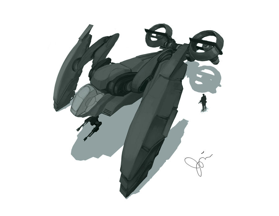 Abyssus Dropship Concept Art by toiletbear