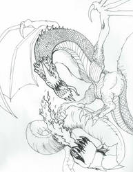 Polar Wyvern and Remorhaz by apeman505