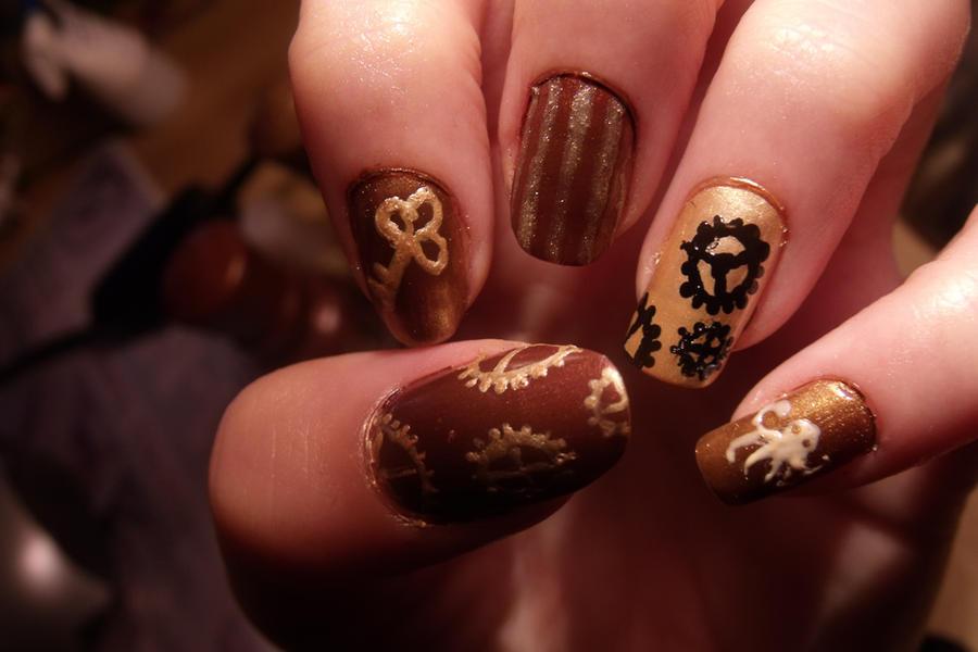 Steampunk nail art by pttcrab on deviantart steampunk nail art by pttcrab prinsesfo Gallery