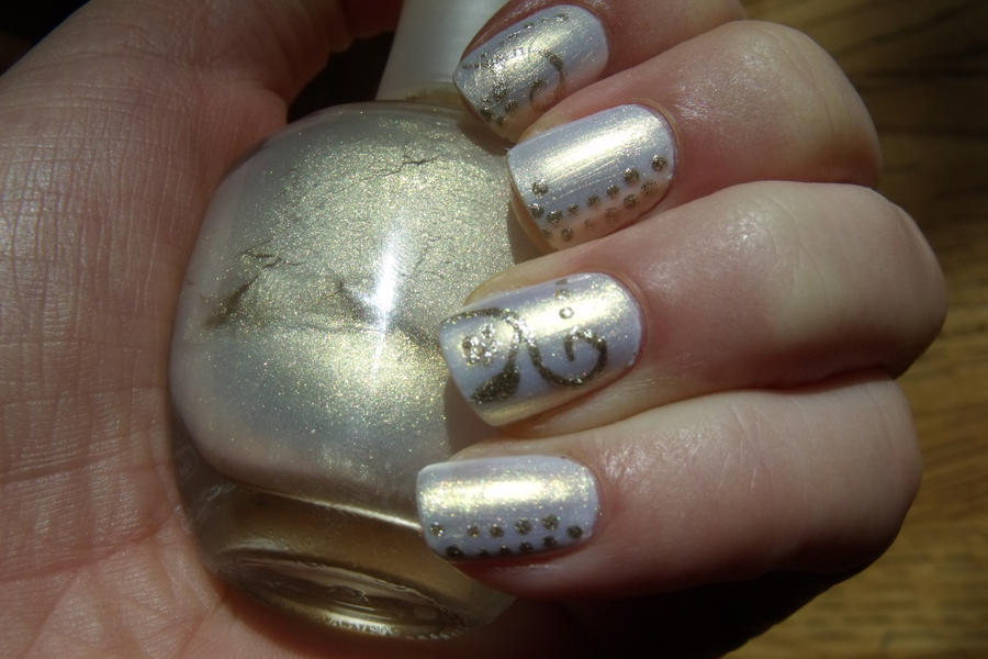 full view upclose floral white gold nail art by Pttcrab on DeviantArt