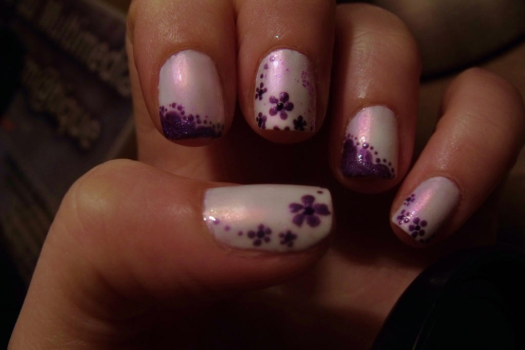 purple and white nail art by Pttcrab on DeviantArt