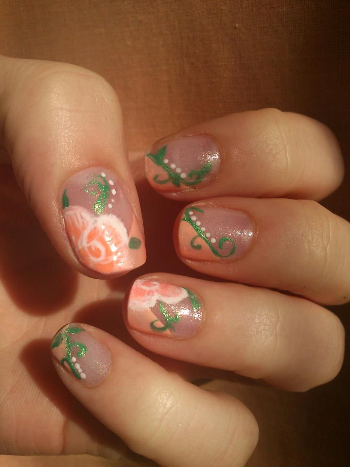 Coral roses nail art inspired by love4nails by Pttcrab on DeviantArt