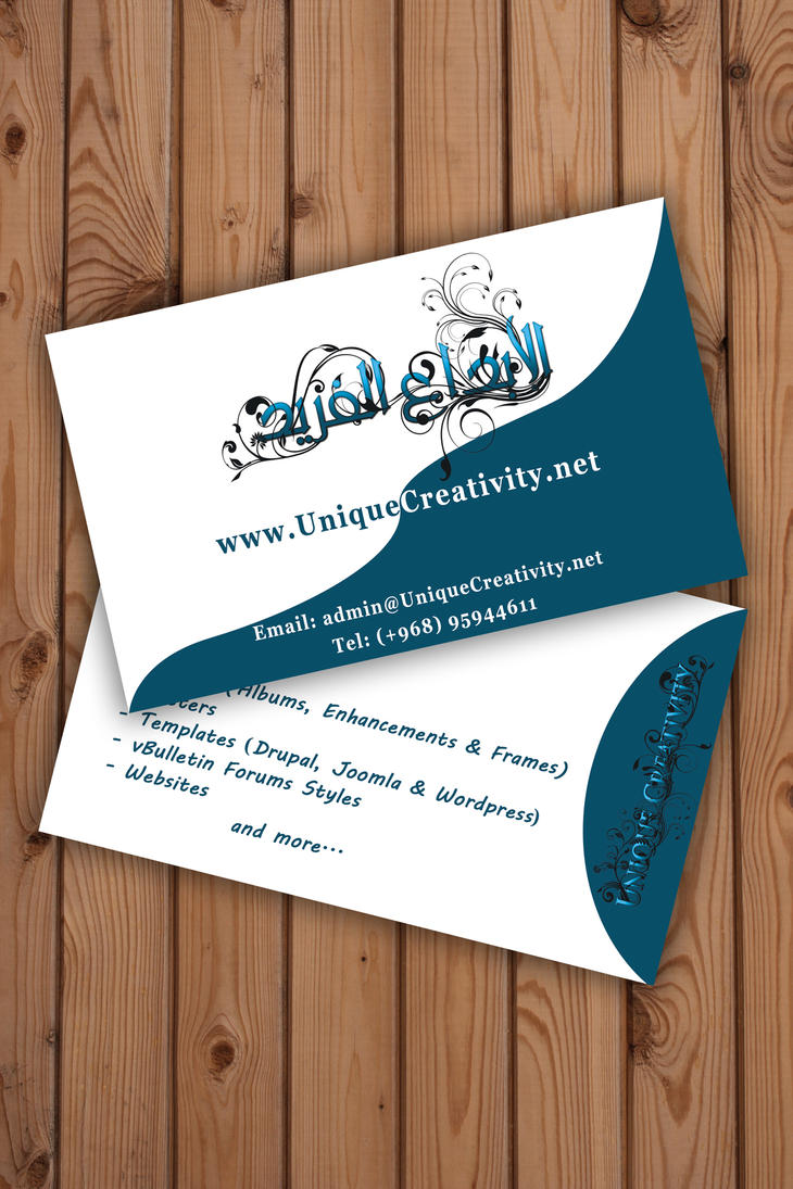 My business card version 1 by uniquecreativity on deviantart for My business card