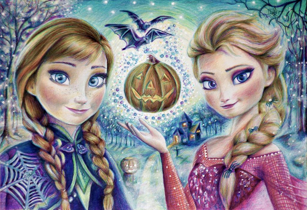 Anna And Elsa Halloween By Alena Koshkar On Deviantart