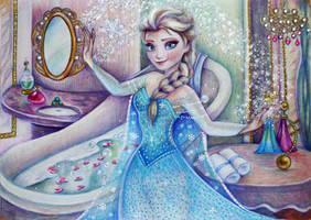 Elsa before the Grand Ball by Alena-Koshkar