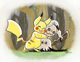 -Pokemon- -Pikachu and Mimikkyu- Reassurance by Godspoison