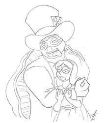 Alice x Hatter sketch 1 by AliceCherie