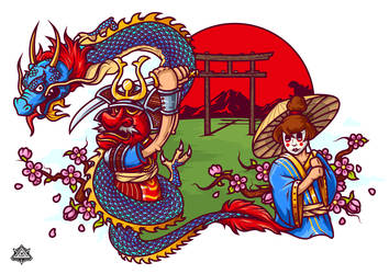 Samurai and Dragon by rav31