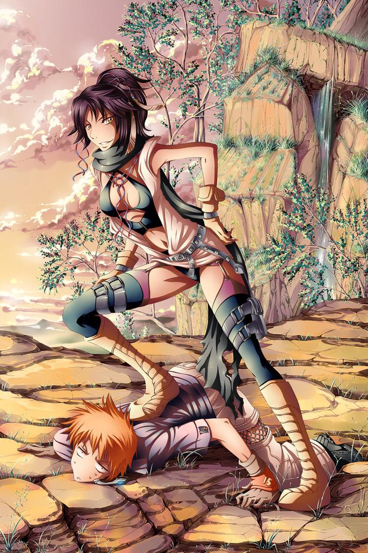 Bleach: Yoruichi x Ichigo by Shailo