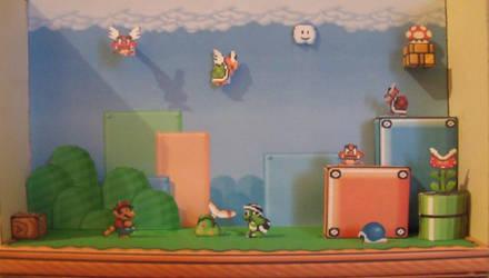 Mario bros 3 diorama papercraft