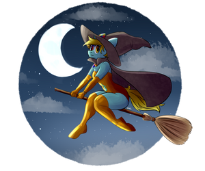 A witch on a broom [YCH] by OliverThePanda