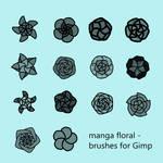 Manga Floral - Brushes for Gimp by VilmaMonster