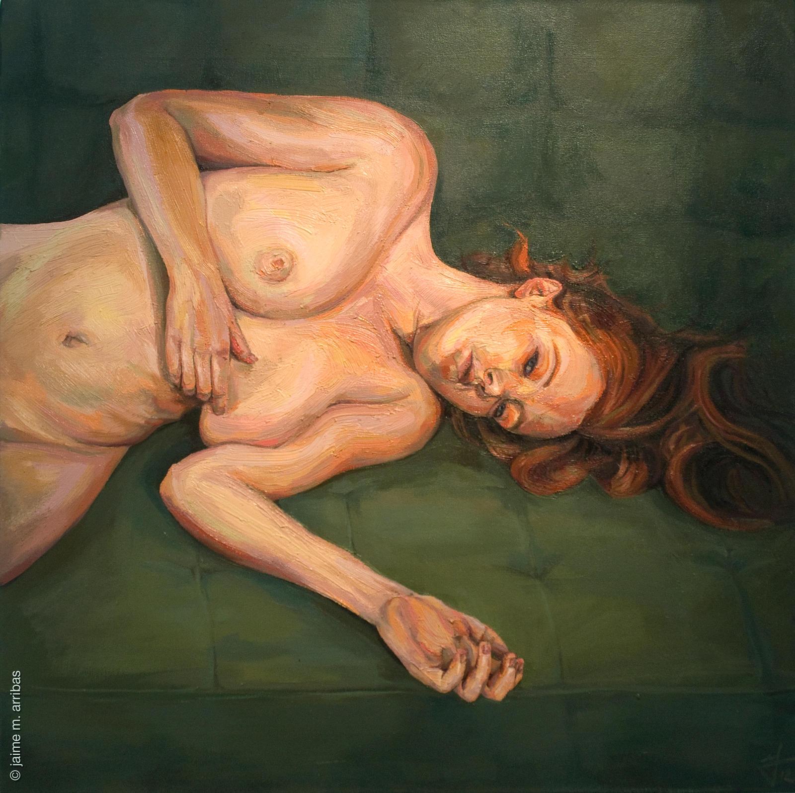 Pelirroja en el sofa verde by chimobayo