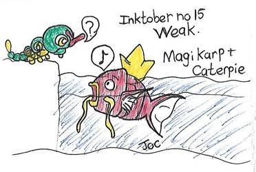 Inktober no 15 Weak Magikarp and Caterpie by searingdestiny