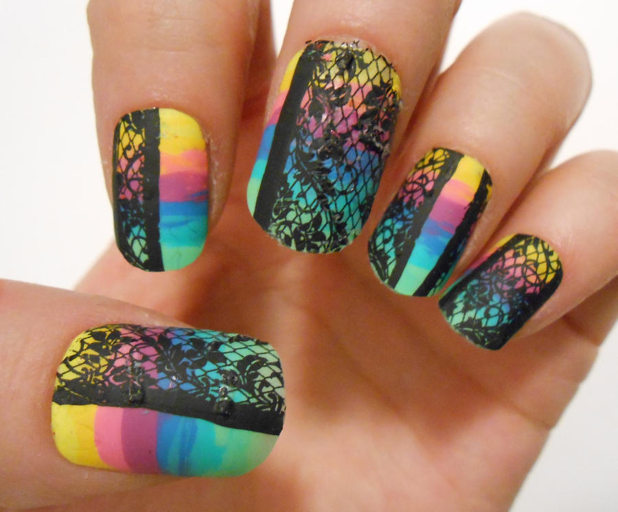 rainbow lace nails :) by henzy89