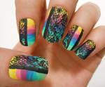 rainbow lace nails :)