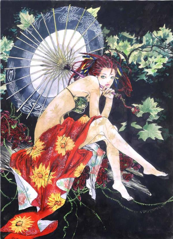 kawaii girl by pinkjellyo