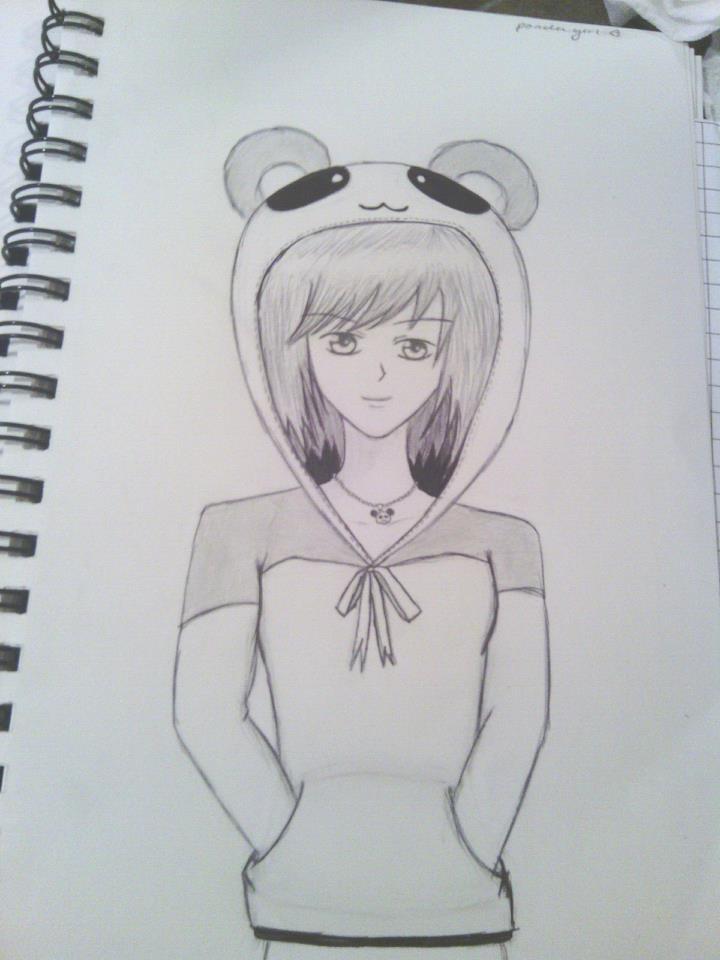 Panda hoodie girl by shirayukisakura36