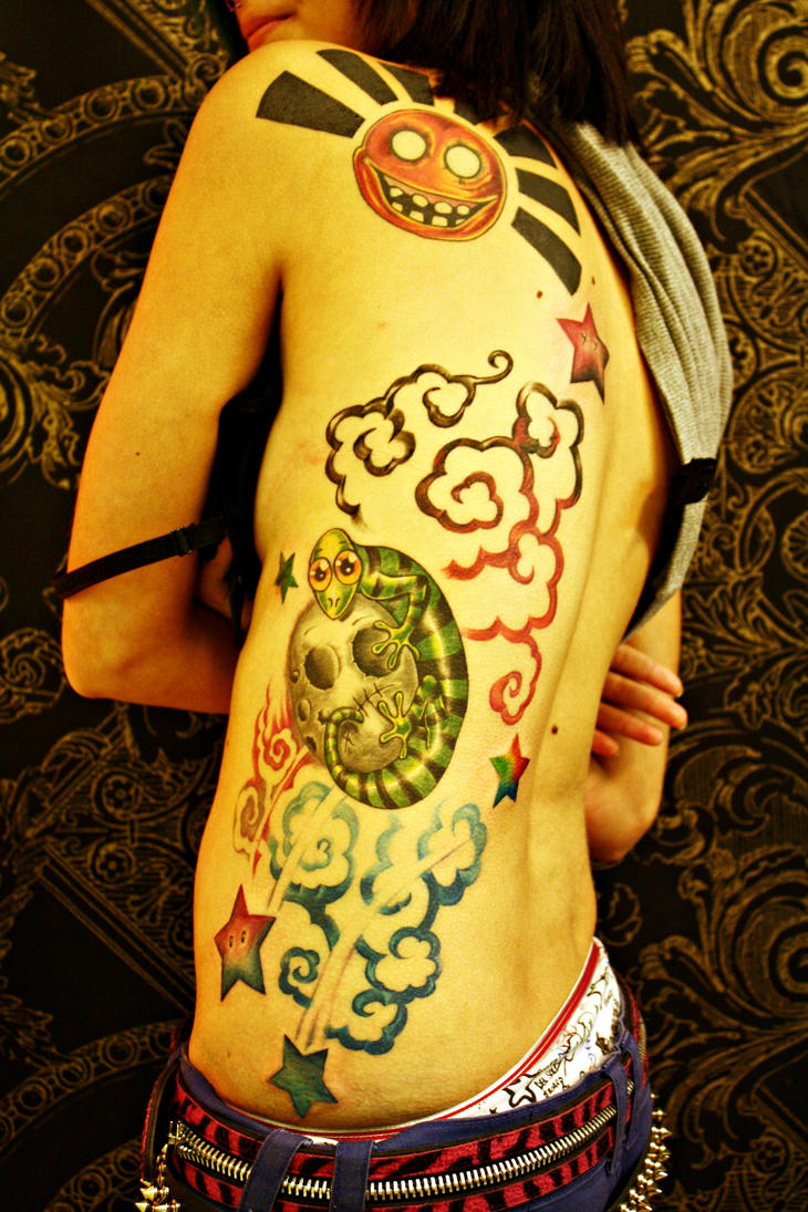 stars moon sun lizard tattoo by vstattoo