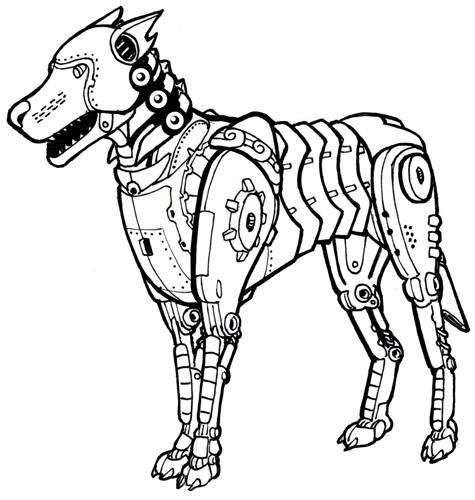 how to draw a robot dog