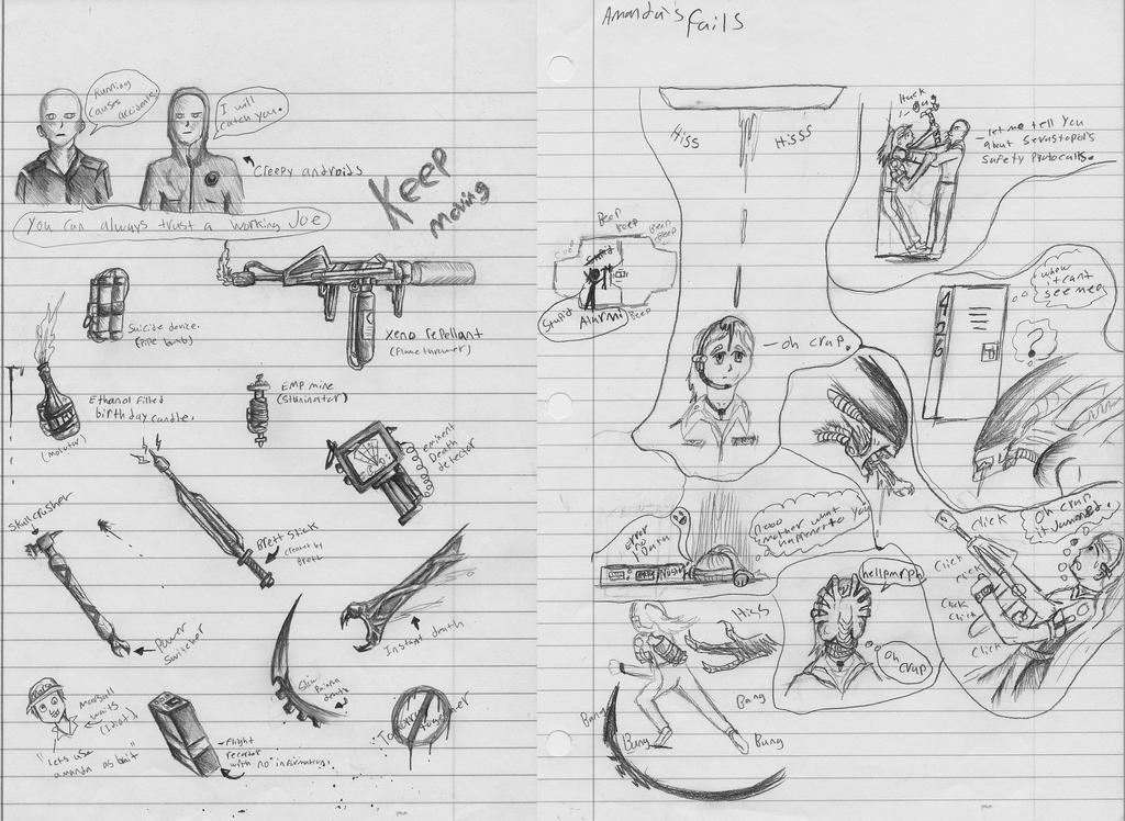 Alien Isolation Sketchdump by xenomorphfury161