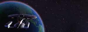 Galaxy Class Starship above Earth