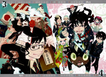 Blue Exorcist Calendar 2012 - March and April by Claudia-Cher