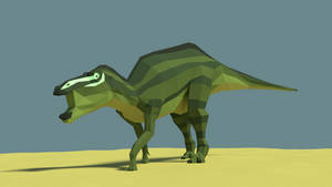 Shantungosaurus in Low Poly by kuzim